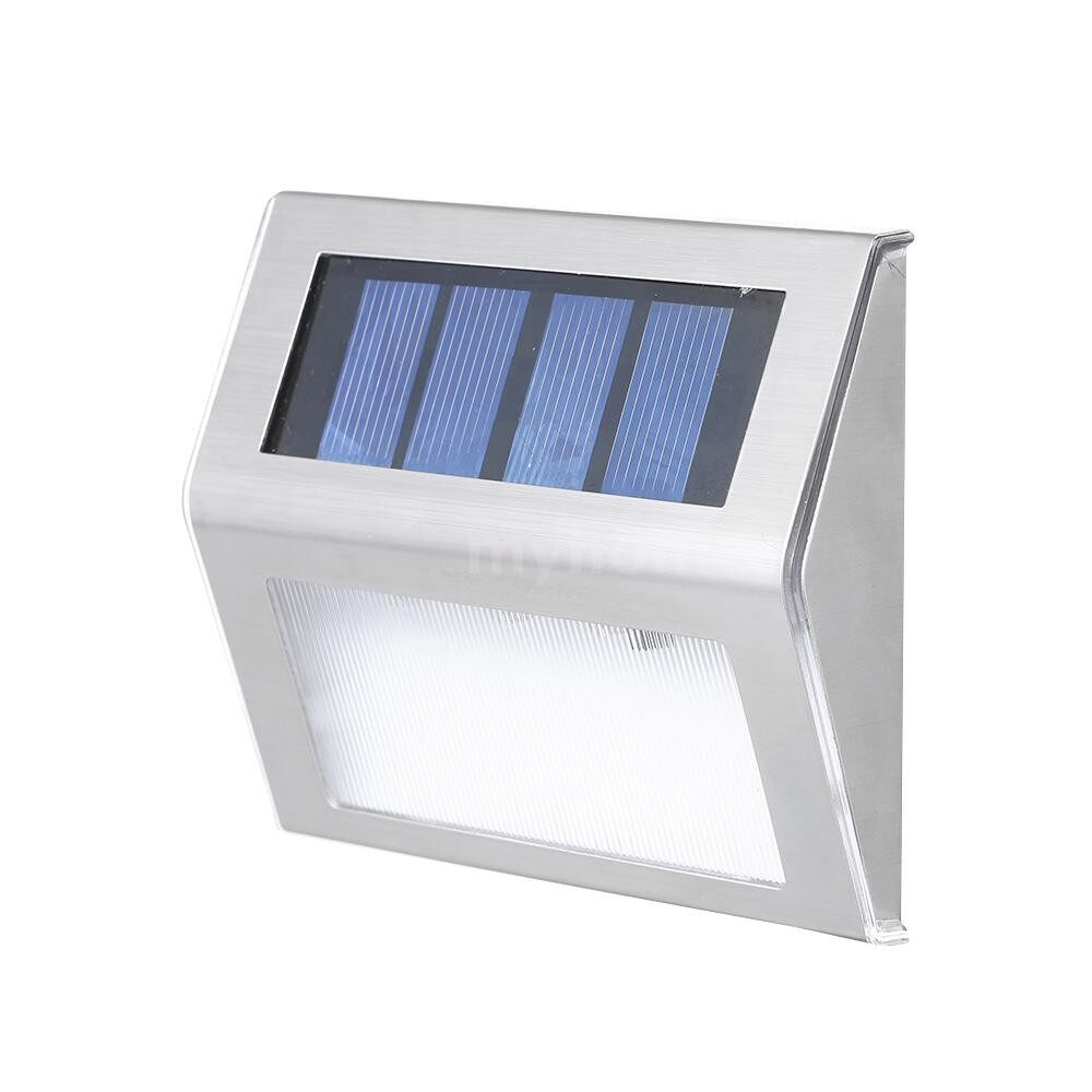 Outdoor Lighting - Solar Step Lights LED Stair Lighting Stainless Steel Outdoor Waterproof Lamp for Deck Patio Garden