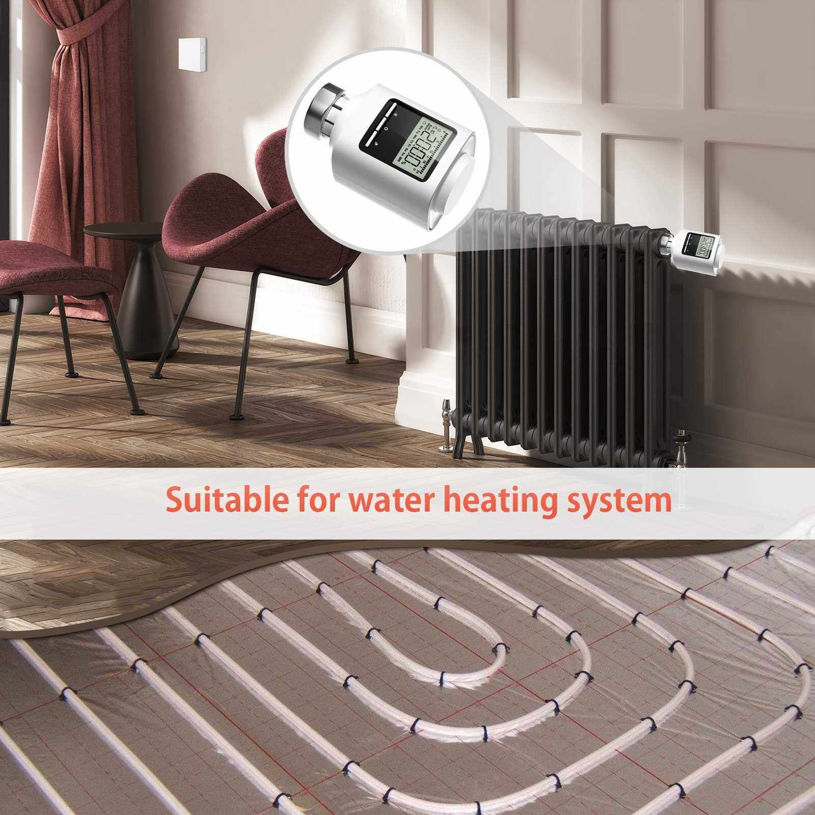 People's Choice ZigBee Thermostatic Radiator Valve Weekly Programmable Smart Heating Radiator Thermostat APP Control Voice Control Window-Opening Anti Freezing Function Indoor Constant Temperature Controller (Standard)