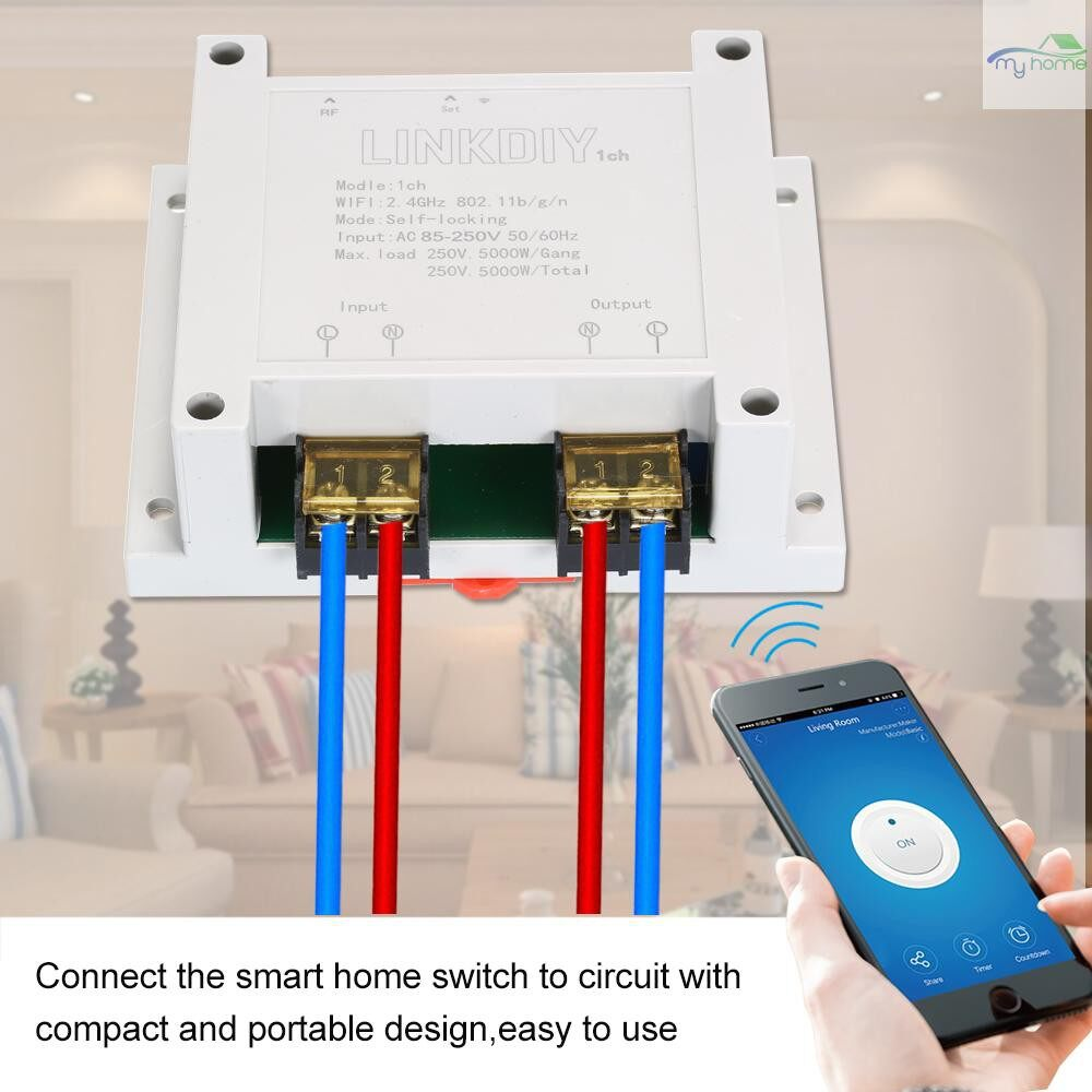 DIY Tools - Smart Wifi Switch Universal Module 1CH AC85-250V WIRELESS Switch Timer Phone APP Remote - WHITE