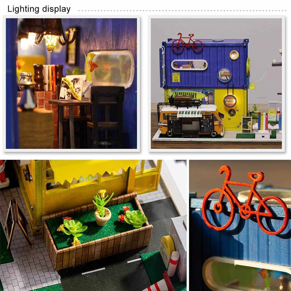 DIY Miniature Dollhouse with Furniture and LED Lights Container Design with Catering Truck 3D Wooden House Creative Birthdays Festivals Christmas Gifts for Children Family Friends (Standard)