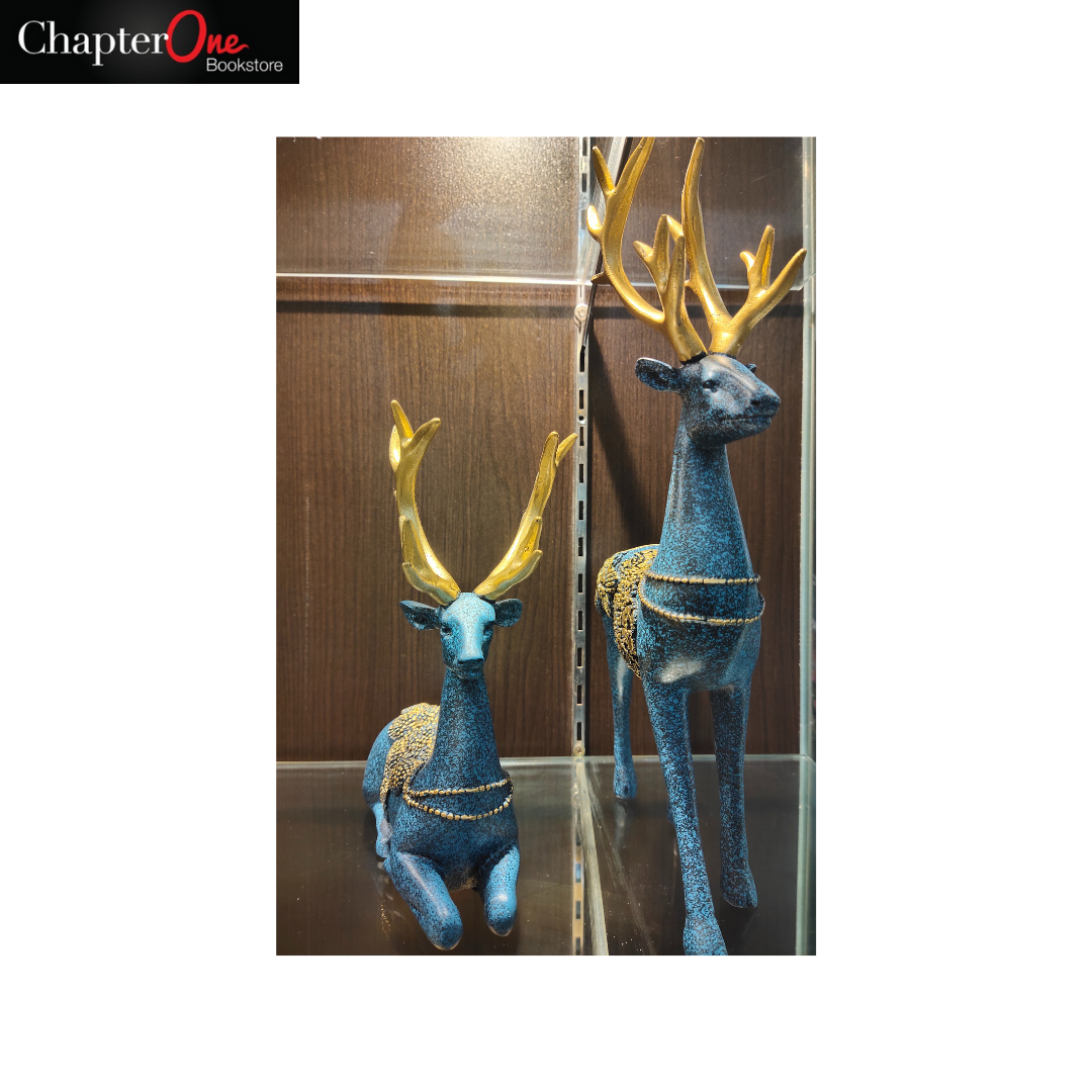 Reindeer Sculpture - Blue and Gold (Home and Office Decor)