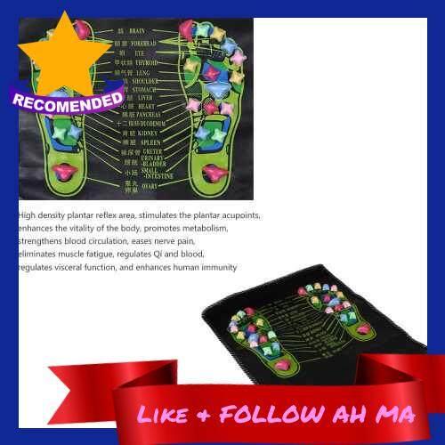 Best Selling 1pcs Reflexology Walk Stone Foot Leg Pain Relieve Relief Walk Massager Mat Acupressure Mat Pad Massageador (Black)