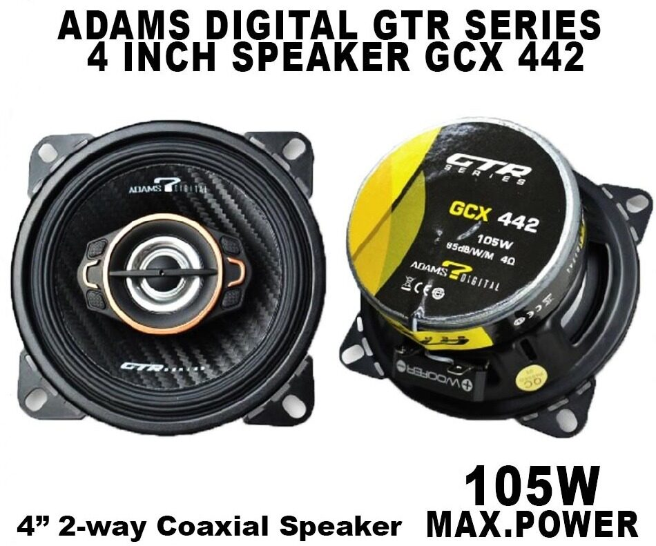 Adams Digital GTR Series GCX 442 4 Inch 2-way Coaxial Speaker Max 105 Watt ( 2 pcs )