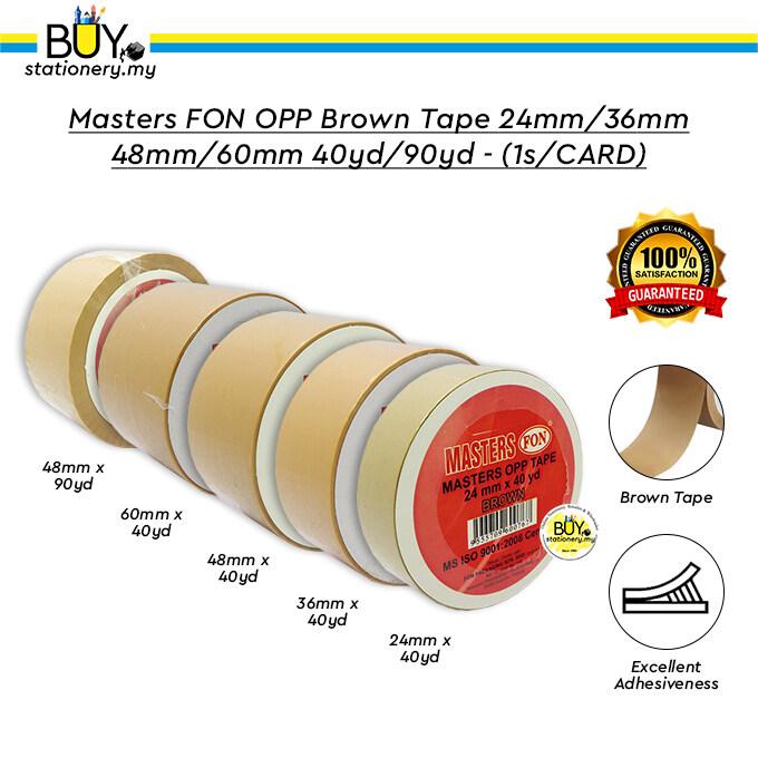 Masters FON OPP Brown Tape 24mm/36mm/48mm/60mm 40yd/90yd - (1s/CARD)