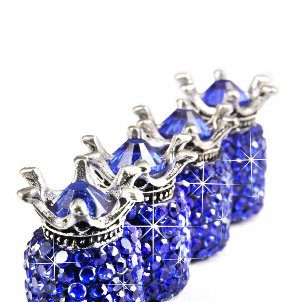 Best Selling Car Tire Valve Caps 4 Pack Crown Valve Cap Diamond Valve Stem Caps Crystal Rhinestone Valve Core Cap (Blue)