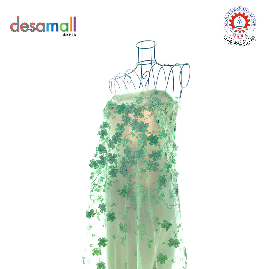 SHIMOFA Emroidered 3D French Lace Flower Motive (3D002)-Dusty Green