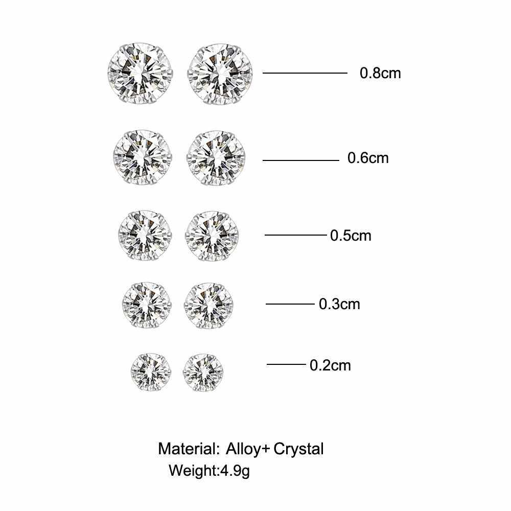 Best Selling 5 Pairs/Lot Simple Cubic Alloy Earrings Men Women 6 Claws Round Zircon Ear Nail Ladies Fashion Charm Ear Stud Wedding Jewelry (Green)