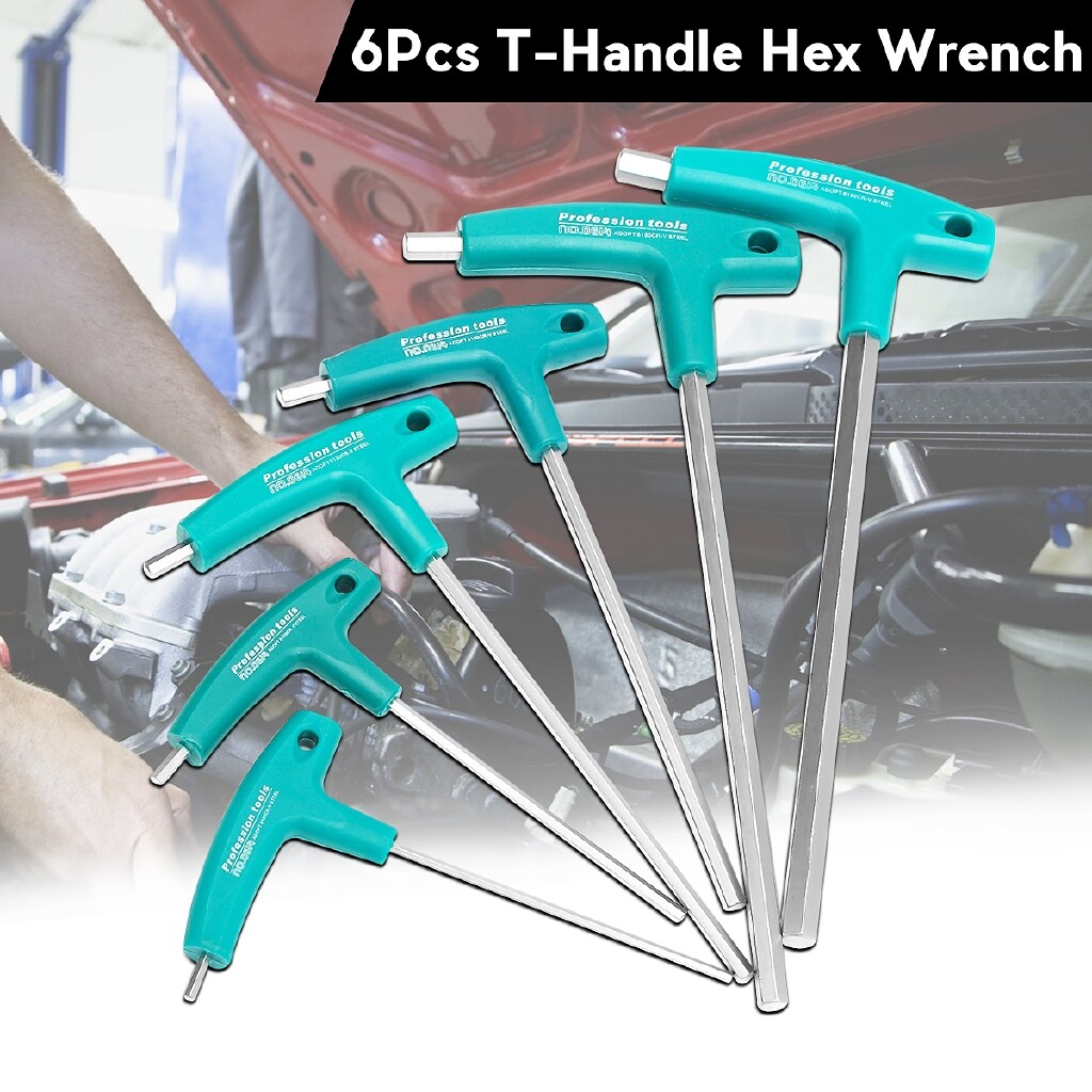 Automotive Tools & Equipment - 6 PIECE(s) T-Handle Hex Wrench Hex Key SET Long Reach Screwdriver Tools - Car Replacement Parts