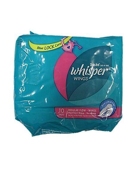 WHISPER REGULAR FLOW WINGS 23CM 10 PADS