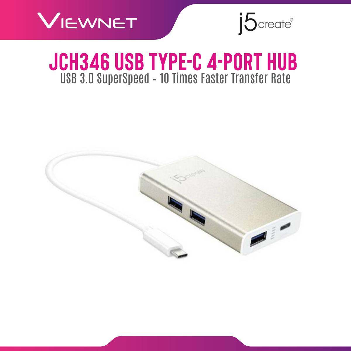 J5 Create JCH346-10 Type-C To 3-Port USB 3.0 Power Delivery USB Hub