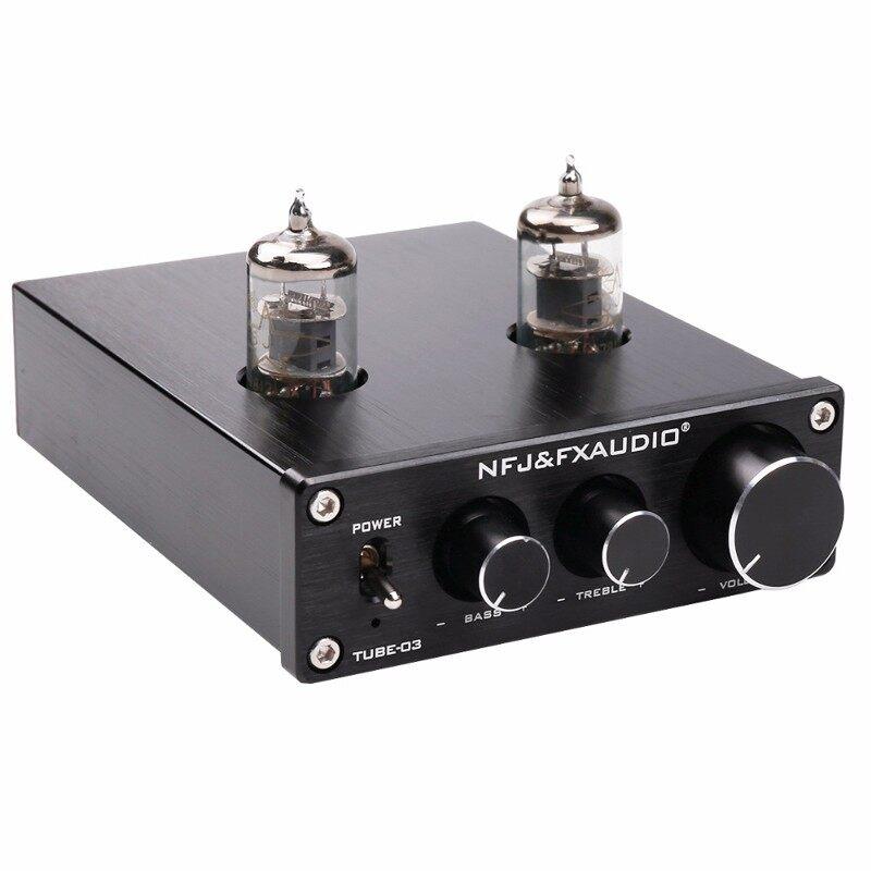 FX-AUDIO TUBE-03 Bile 6J1 Preamp Tube Amplifier Buffer HIFI Audio Preamplifier - BLACK / SILVER