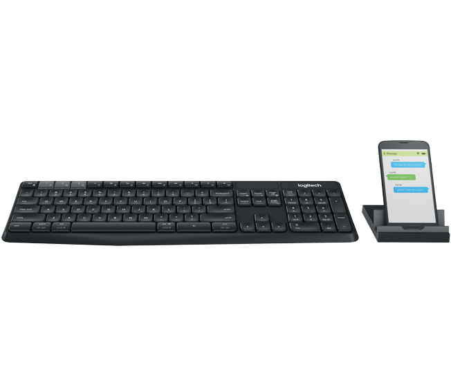 Logitech K375s Multi Device Keyboard with Quiet comfortable typing, Universal phone and tablet stand, Durable and hassle-free