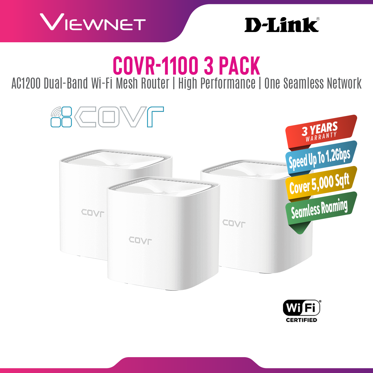 D-Link COVR-C1100 Mesh WiFi Network System Gigabit Dual Band Wave 2 Whole Home Wireless Wi-Fi Router COVR C1100 COVR-1100 3 PACK COVR 1100