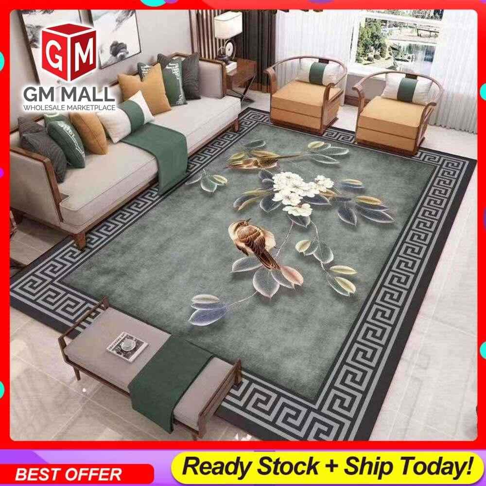 NEW DESIGN SIZE BESAR L/XL European Style Carpet Printed 3D Olive Green Flower Mat Floor - Karpet Bercorak 3D Waterproof/Living Room/Bedroom Material Velvet [02]
