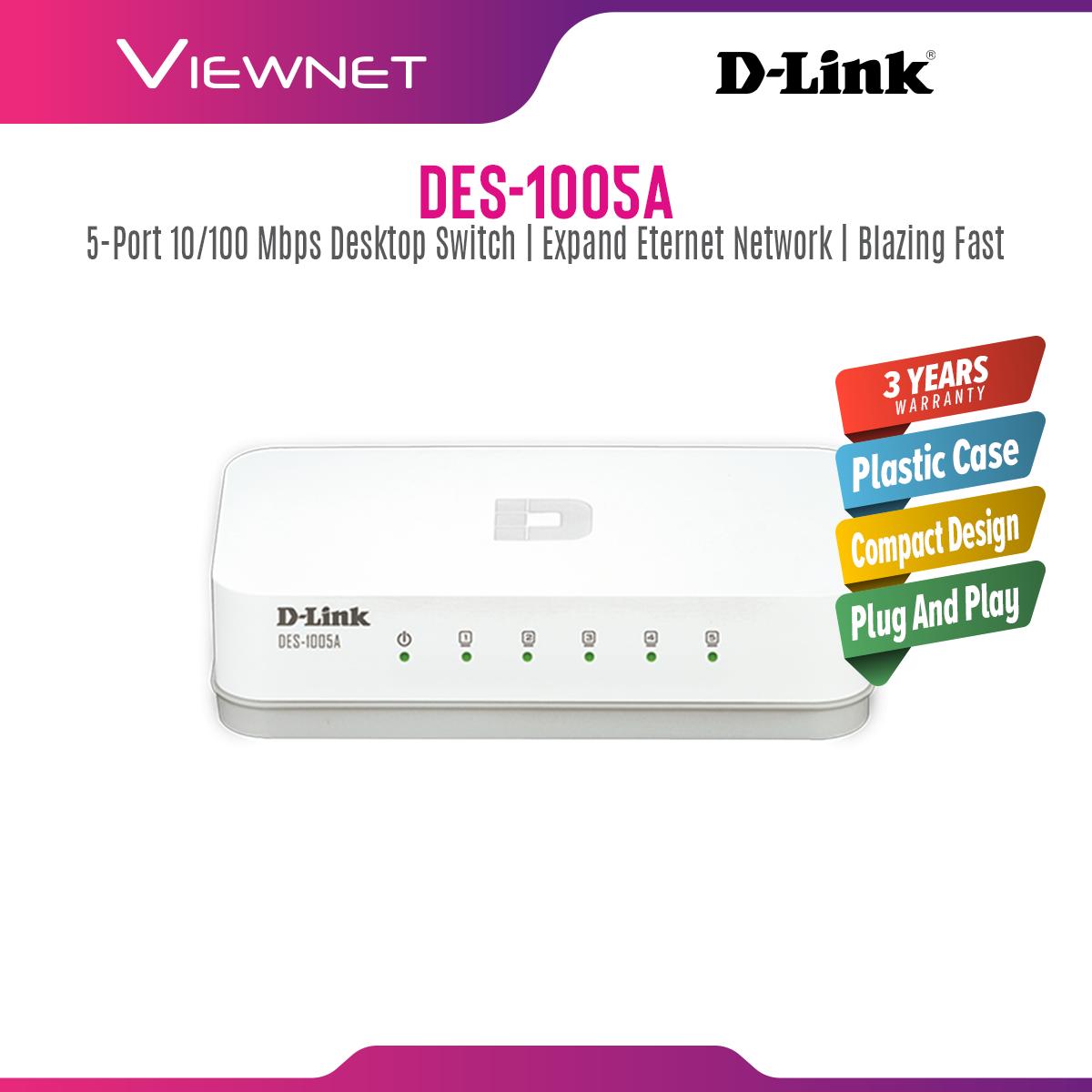 D-Link DES-1005A 5-Port Fast Ethernet Desktop Switch In Plastic Casing