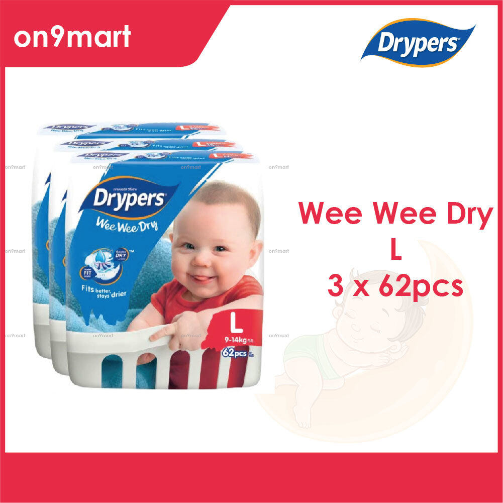 Drypers Wee Wee Dry L Tape 62pcs x 3 Packs