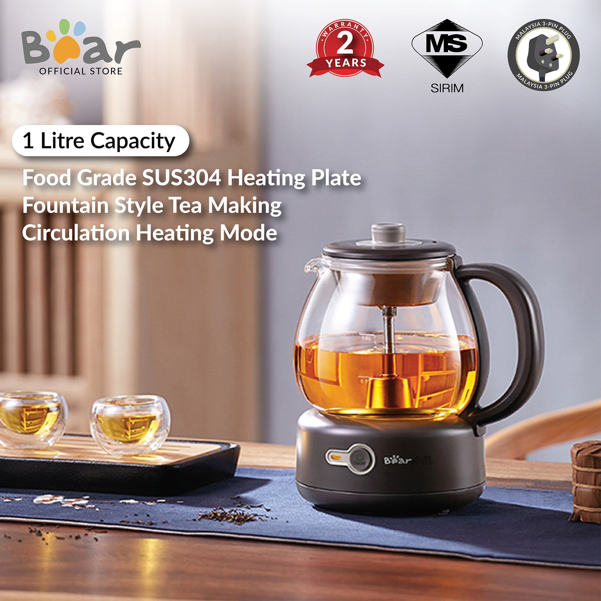 Bear electric kettle Tea Maker ZCQ-A10T2 1L Health Potiters Multi-function Thickening Glass Electric Tea Mini Tea Pot  (Malaysia 3-Pin Plug)