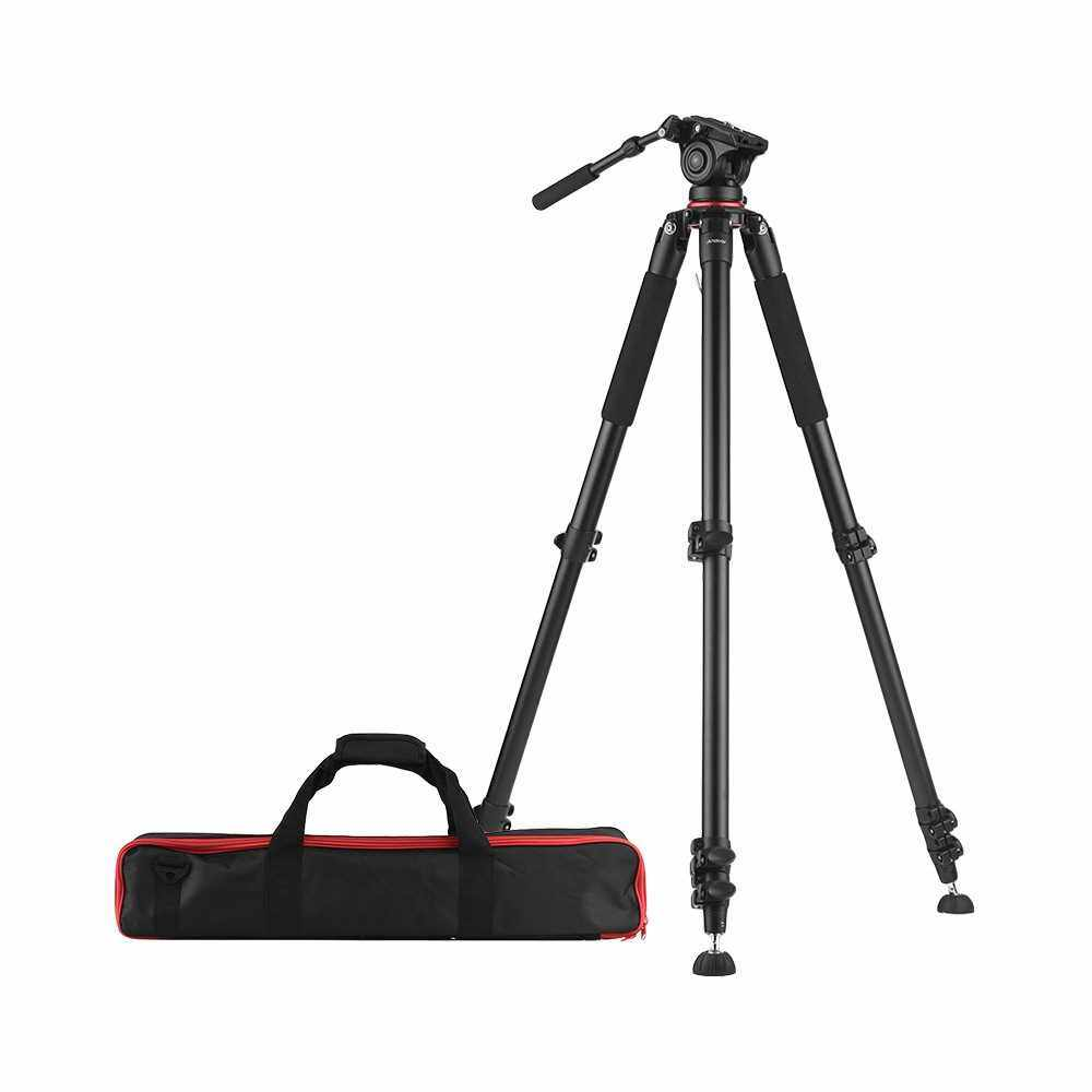 Andoer 5.6ft Professional Heavy Duty Video Camcorder Tripod with Fluid Dray Head Quick Release Plate 15kg Payload with Carry Bag ()