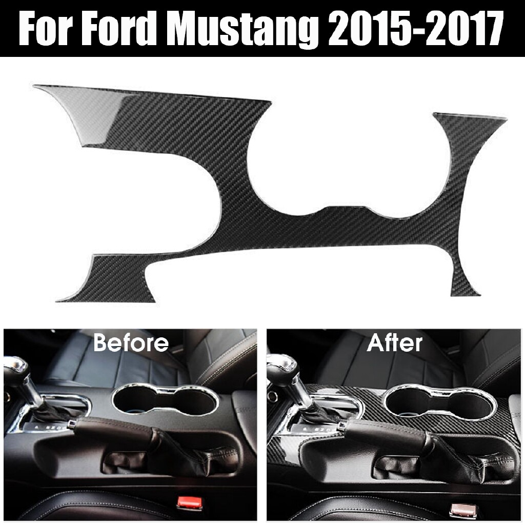 Steering, Seats & Gear Knobs - Carbon Fiber Interior Gear Shift Panel Cover Trim For Ford Mustang 2015-2017 Elec-Mall - Car Replacement Parts
