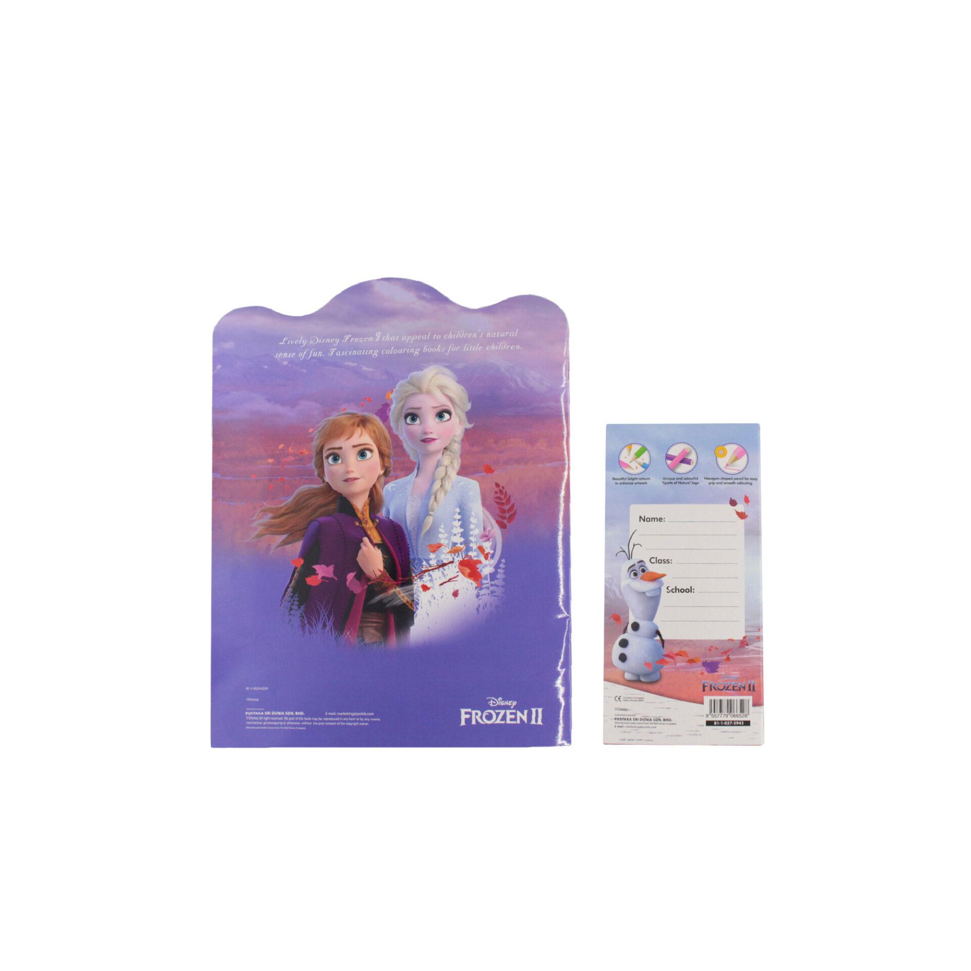 Disney Frozen 2 Princess Elsa Anna & Olaf Activity Colouring Book with 12 Colouring Pencils