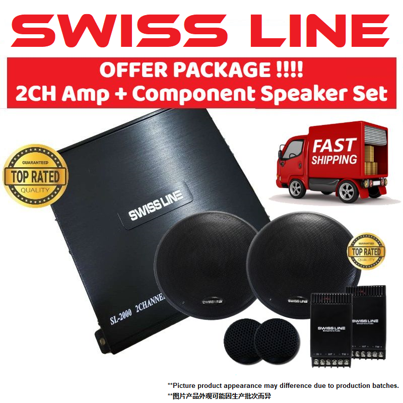 "SWISS LINE SL-2000 Car Amplifier 1600 Watts 2-CH Channel High Performance Power Car Amp for Car Speaker 2ch amp + 6.5"" Mid-Bass Crossover Tweeter Component Set Car Speaker SWISS LINE For Front and Rear Door"
