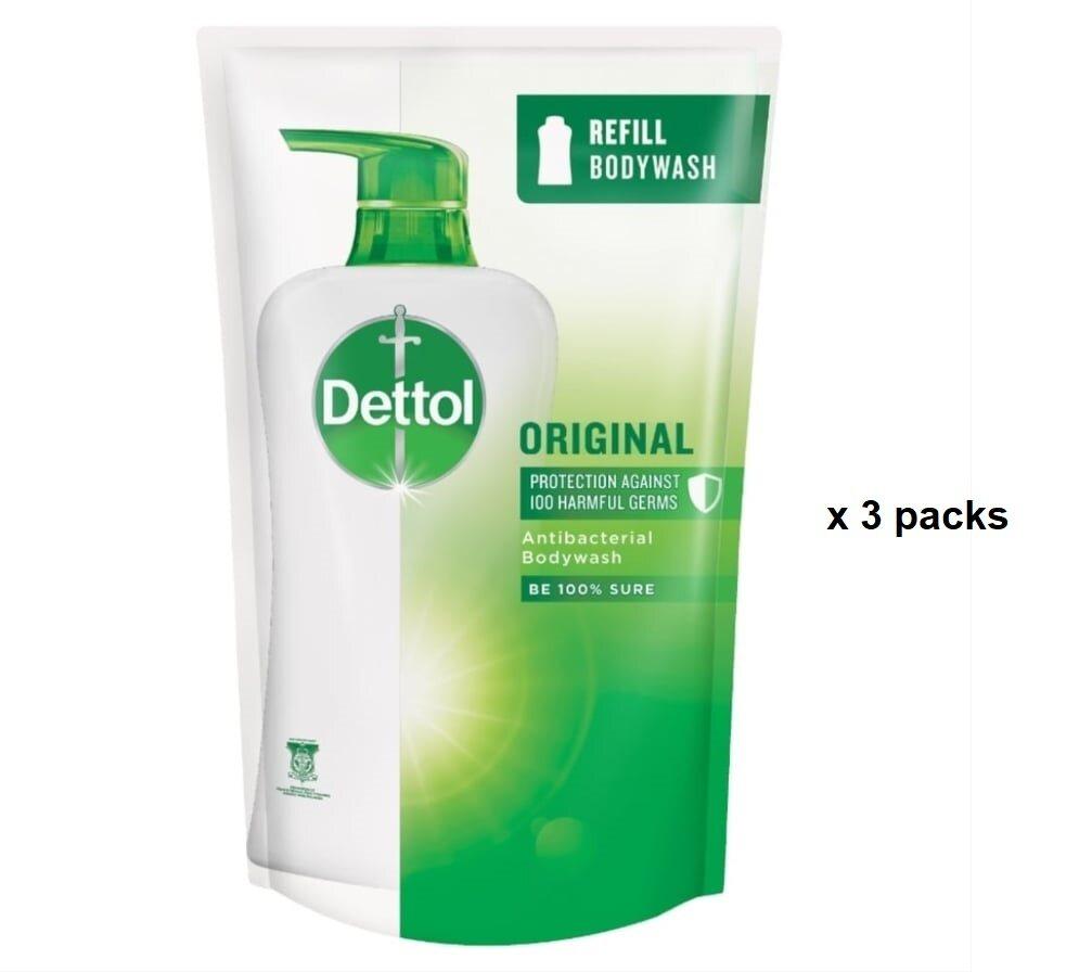 Dettol Shower Gel Body Wash Original Refill Packs (900ml x 3 packs)