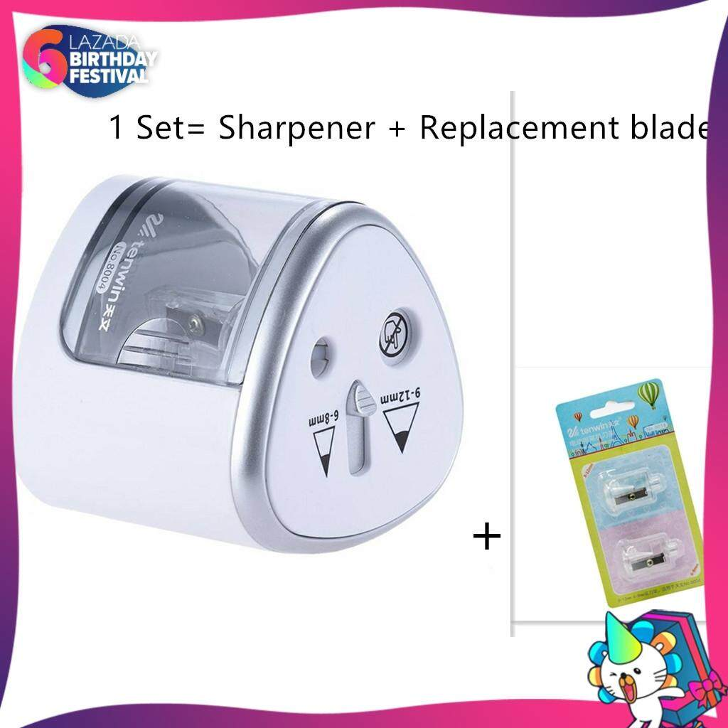 2 Holes Auto Pencil Sharpener Battery Operated with replacement blade set