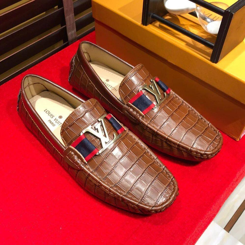LV2019 new men's shoes, business shoes, fashion embossed shoes, high-end office shoes