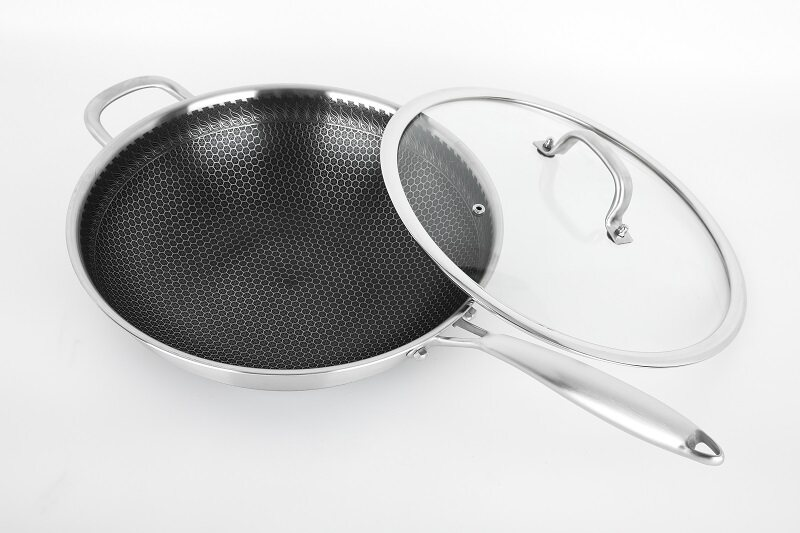 Buffalo TOROS 32/36cm Honeycomb Non-stick Wok with Lid SUS 316 Stainless steel