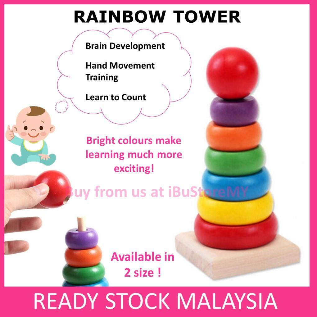 Kids Wooden Stacking Stack Up Rainbow Tower Ring Educational Toy Early Learning Puzzles Building Blocks
