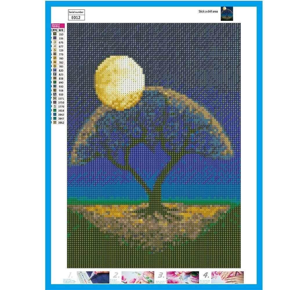 5D DIY Diamond Painting Kit Arts Crafts Embroidery Cross Stitch Rhinestone Decoration Canvas Wall Home Office Decor Style 1