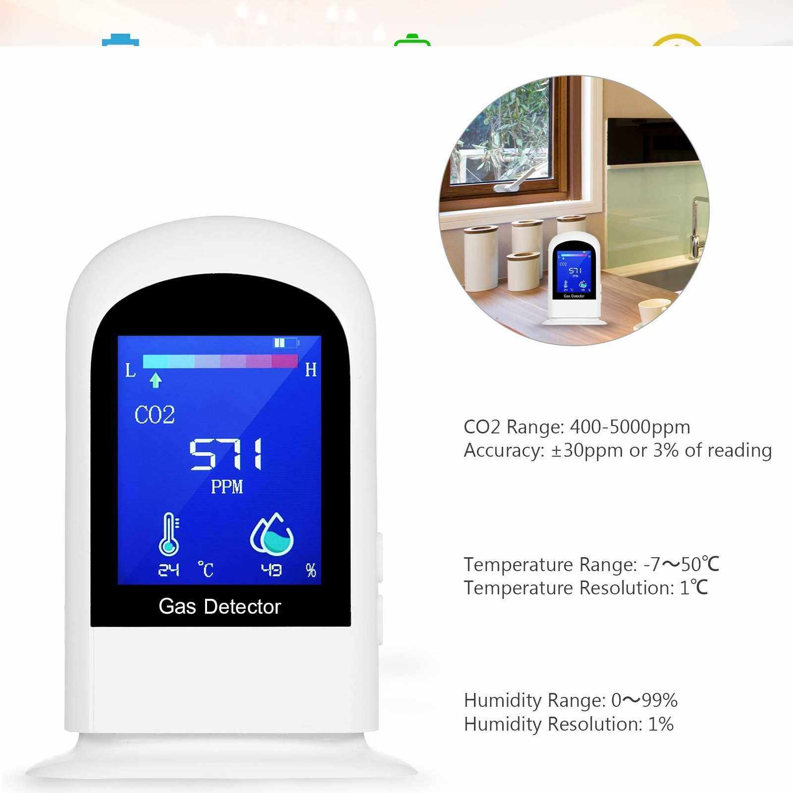 People's Choice Carbon Dioxide Meter Temperature/Humidity Air Quality Monitor CO2 Detector Accurate Tester Kit for Home Office NDIR Sensor Data Logger (Standard)
