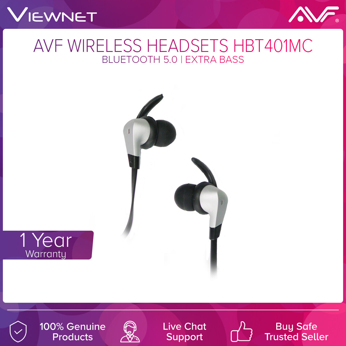 AVF Wireless Headsets HBT401-MC with Bluetooth 5.0, Extra Bass, Built-In Memory Card Slot, Splash Proof IPX2, High Defination Transmission