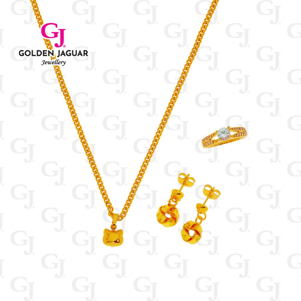 {HOT ITEM} GJ Jewellery Emas Korea 24k Combo Set Kitty Necklace- Korean Gold Plated 24k Premium Set