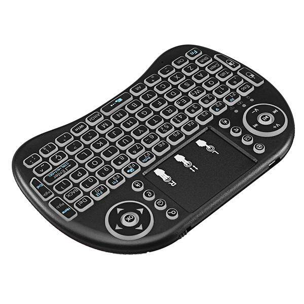 Keyboards - WIRELESS I8 2.4G MINI Keyboard White Backlit Portuguese Touchpad Air Mouse - WHITE / BLACK