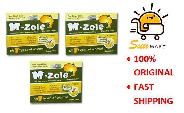 M-ZOLE / M ZOLE CHEWABLE TABLET Ubat Cacing Mebendazole 500mg 1S X 3 boxes
