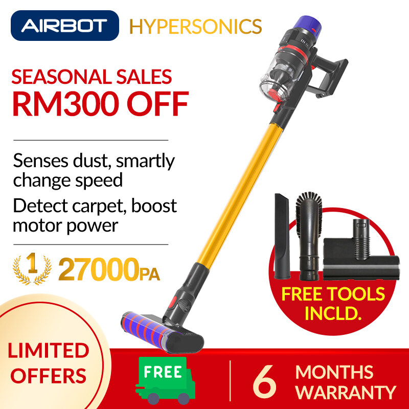 Airbot Hypersonics (Gold) Handheld Portable Handstick Cordless Cyclone Canister Vacuum Cleaner 27kPa 6 Months Warranty Dust Mite Car Carpet Turbo Power Rechargeable Eco Friendly Aircon Bed Energy Saving Sofa  Work With Xiaomi Robot Robotic Vacuum