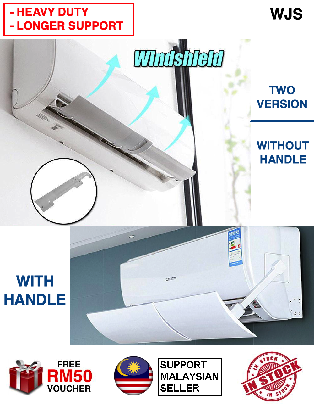 (LONGER SUPPORT) WJS Heavy Duty Air Conditioner Windshield Aircond Windshield Cold Wind Deflector Retractable Baffle Aircond Protector Cassette Aircond Penyaman Udara WHITE [FREE RM 50 VOUCHER]