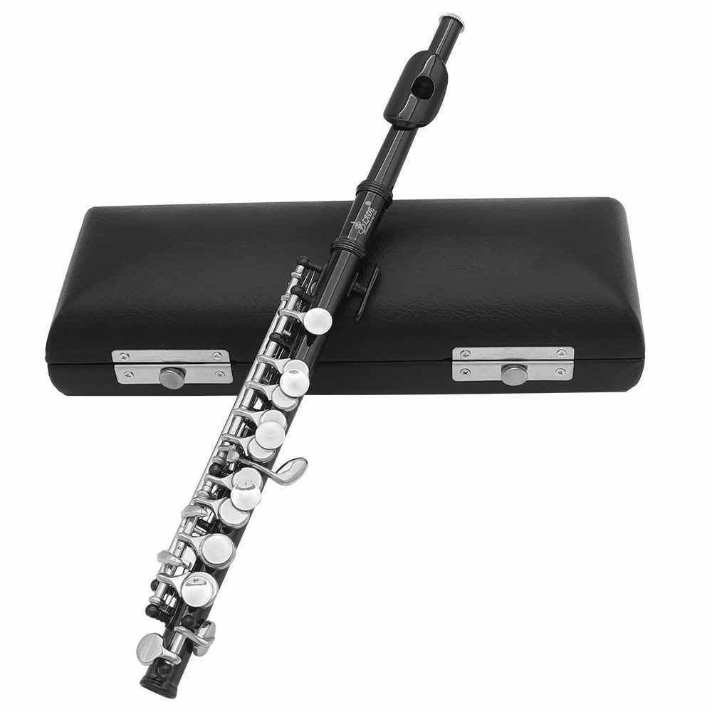 Best Selling Piccolo Ottavino Half-size Flute Plated C Key Cupronickel with Cork Grease Cleaning Cloth Screwdriver Padded Box (Black)