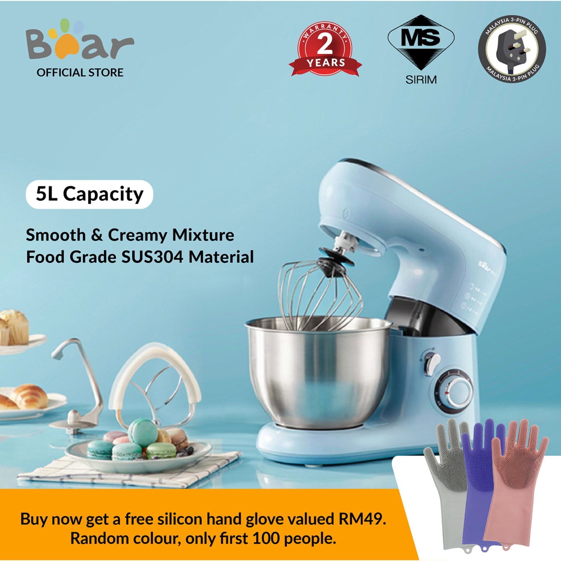Bear dough mixer SJJ-B10Q1 5L bread maker home automatic mixer/ timing dough machine /power stand mixer/chef machine flour dough machine /multi-function eggbeater automatic /household mixing machine   (Malaysia 3-Pin Plug)