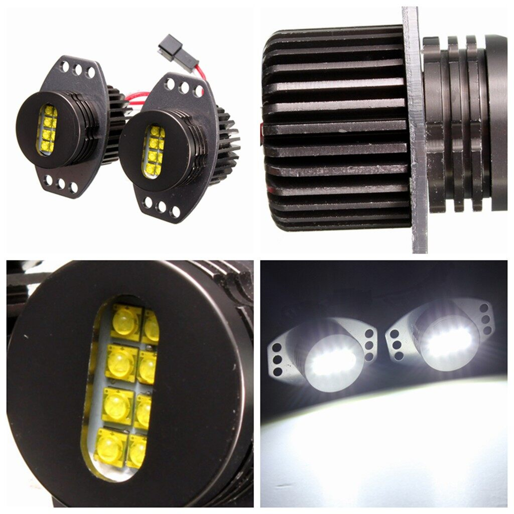 Car Lights - 2X 64W CREE Angel Eyes Headlight XENON LED Halo For BMW E90 E91 06-08 White Lamp - Replacement Parts