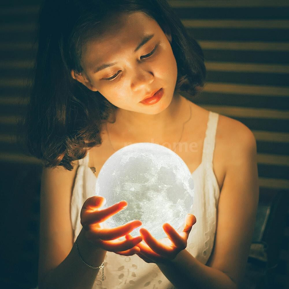 Lighting - 3 Colors 3D Printing Moon Light Lunar Night Lamp Warm & Cool White Dimmable Touch Control Home - TOUCH PATTING & 18CM / TOUCH PATTING & 15CM / TOUCH PATTING & 12CM