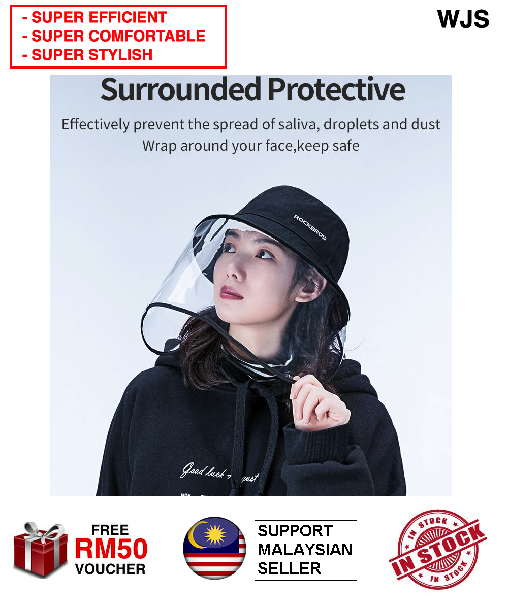 (EFFECTIVE STYLISH COMFORTABLE) WJS RockBros Premium Outdoor Sun Protection Hats Unisex Face Protective Cap Against Droplets Hat Anti-Mosquito Caps Anti-Dust Hats Face Shield Mask Face Mask Protective Gear Sunhat Sun Hat BLACK [FREE RM 50 VOUCHER]