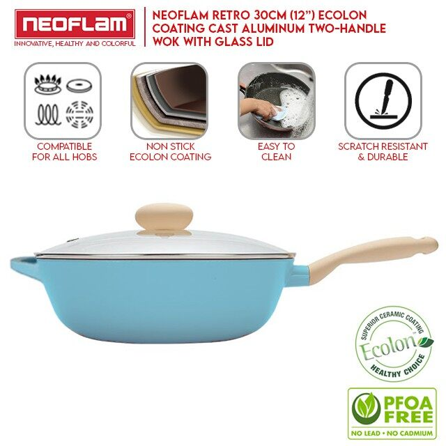 [My Cooking Story / MyCookingStory] Neoflam Retro Wok 30cm With Lid