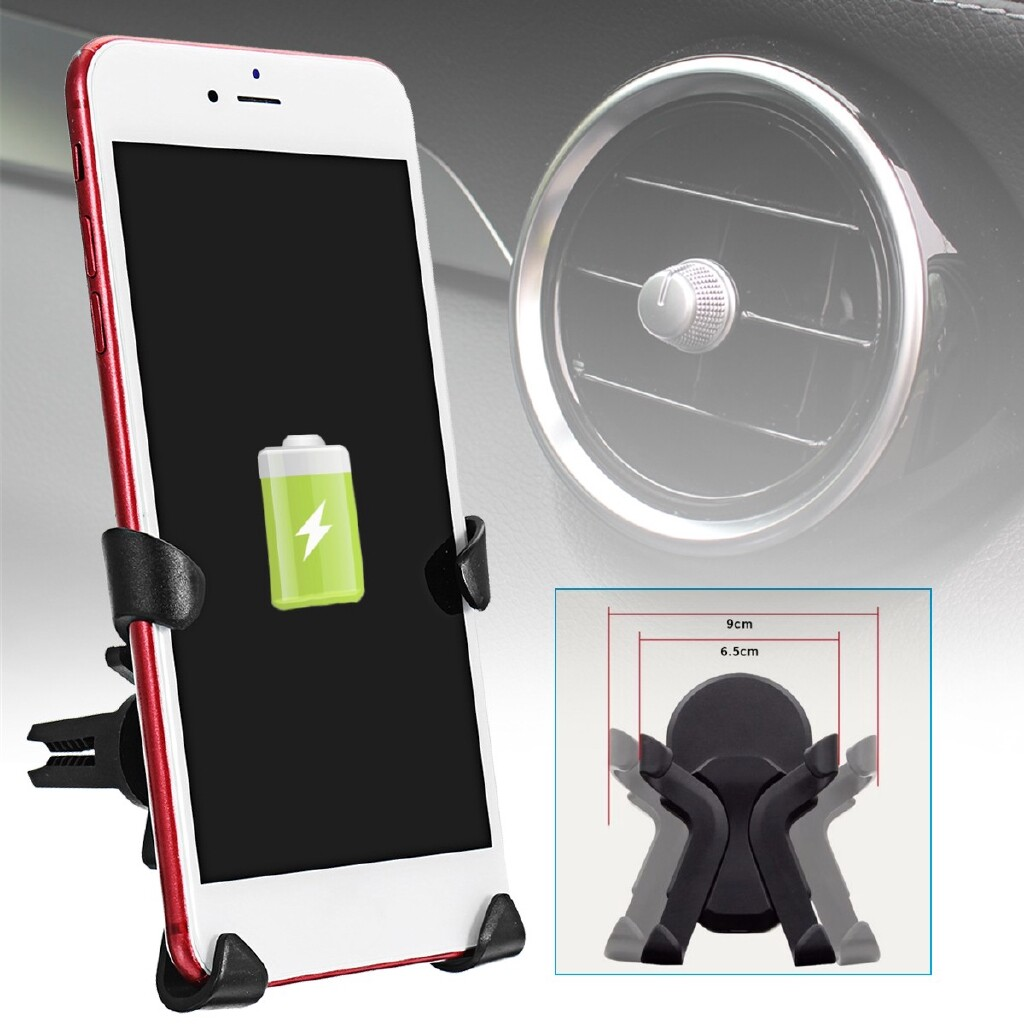 Chargers - Qi WIRELESS Charger Holder Car Air Vent Mount Stand For iPh X 8 Samsung S9 S8 - Cables