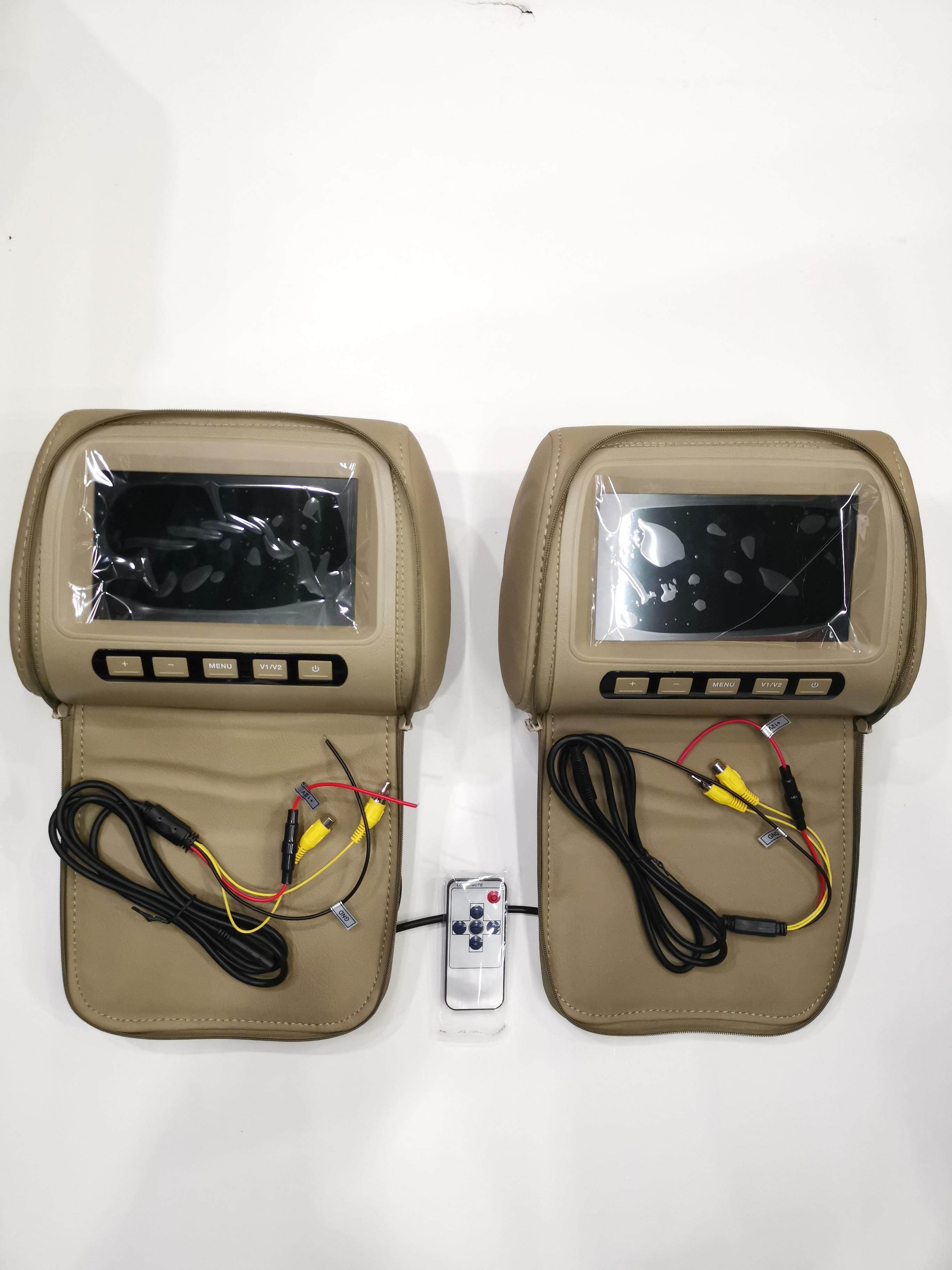 2 pcs 7 TFT LCD Monitor Headrest With Universal Mount Pillow Black,Grey ,Beige