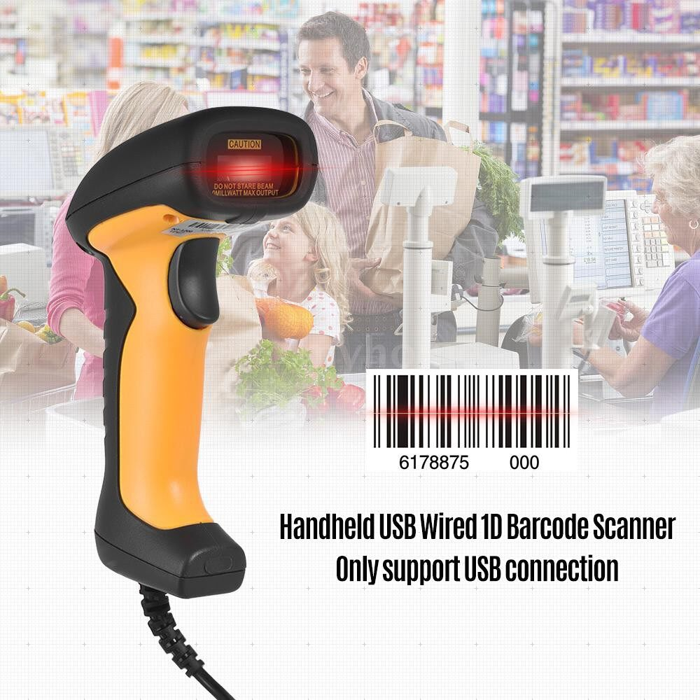 Printers & Projectors - NETUM USB Wired 1D Barcode Scanner Handheld Bar Code Reader for Mobile Payment Computer Screen - YELLOW