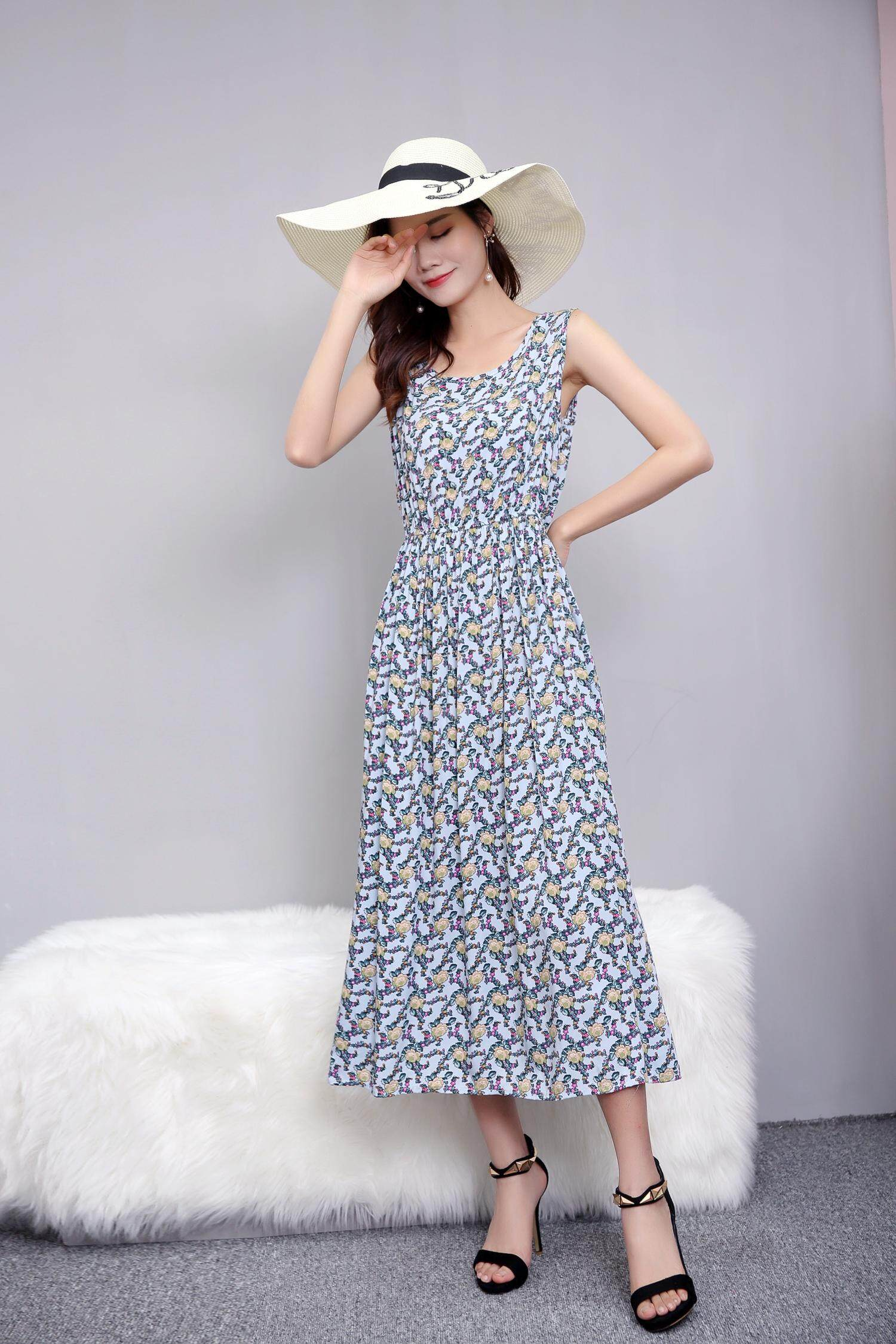 Bolster Store Maxi Flora Sleeveless Long Swing Dress 110cm Long Women Ladies Summer Wear Baju Wanita Panjang