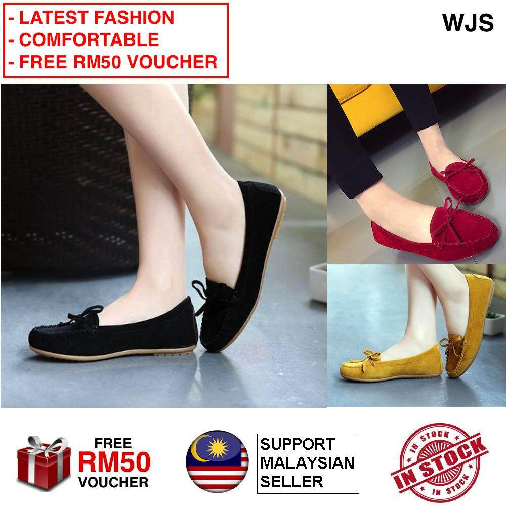 (LATEST FASHION) WJS Latest Korean Style Fleece-lined Gommino Shoes Fashion Loafers Sandals Wedges Flat Heels Slipper Slip On Kasut Perempuan BLACK YELLOW GREY RED [FREE RM 50 VOUCHER]