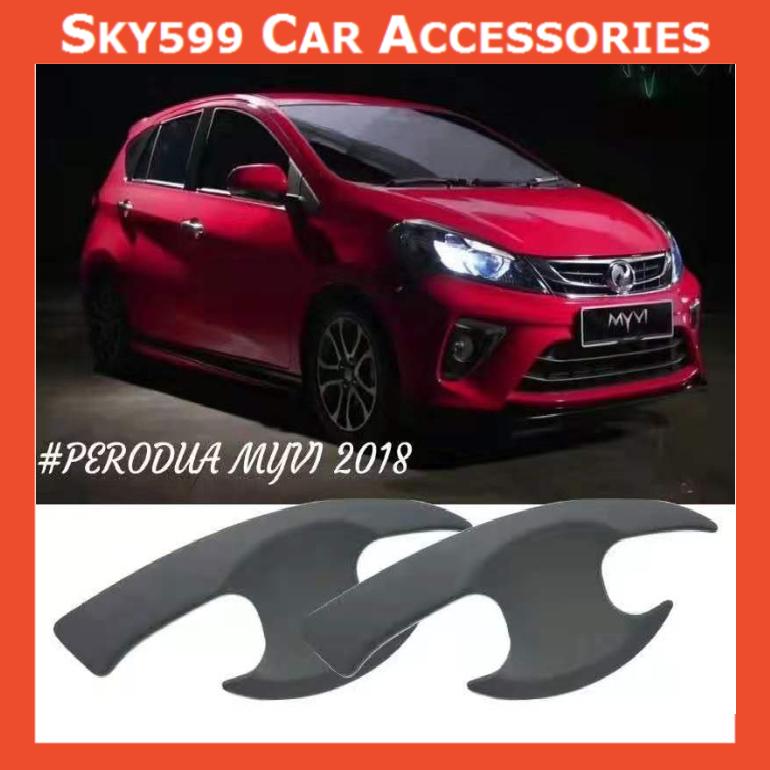 Perodua Myvi 2018-2020 Matte Black Door Handle Inner Bowl Inserts Cover 4pcs